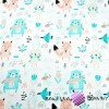 Cotton apricot mint animals on meadow on a white background