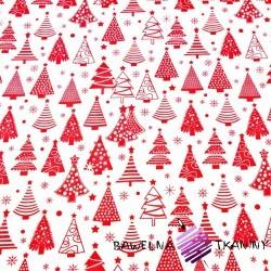 Bawełna Wzór świąteczny choinki z bombkami czerwone na białym tle