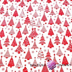 Cotton Christmas pattern red Christmas tree with baubles on a white background