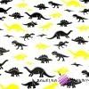 Bawełna dinozaury żółto czarne na białym tle