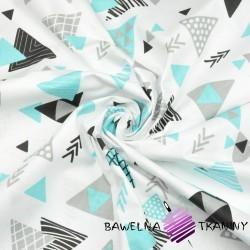 Bawełna trójkąty ze strzałkami szaro turkusowe na białym tle