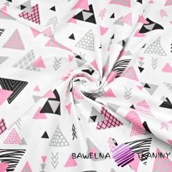 Bawełna trójkąty ze strzałkami szaro różowe na białym tle