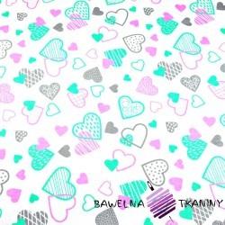 Bawełna serca LOVE różowo miętowo szare na białym tle