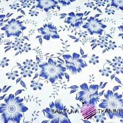 Cotton navy blue flowers on a white background