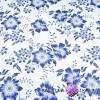 Bawełna kwiaty granatowe na białym tle