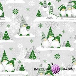 Bawełna Wzór świąteczny skrzaty zielone z reniferem na szarym tle