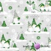 Cotton Christmas pattern green sprites with reindeer on a gray background