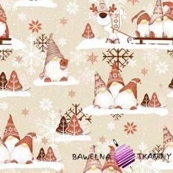 Bawełna Wzór świąteczny skrzaty z reniferem brązowo beżowe na beżowym tle