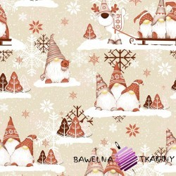 Cotton Christmas pattern red sprites with reindeer on a beige background