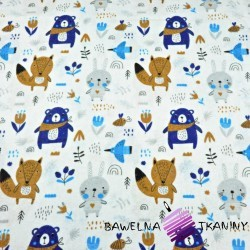 Flannel navy beige animals on meadow on a white background