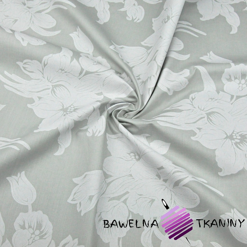 Cotton white flowers on a gray background 220cm