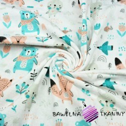 Flannel orange mint animals on meadow on a white background