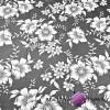 Bawełna w kwiaty białe na szarym tle