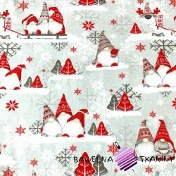 Tkanina Flanela wzór świąteczny skrzaty z reniferem na szarym tle