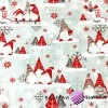Flannel christmas pattern elves with reindeer on gray background
