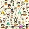 Bawełna Indianie kolorowi na ecru tle