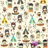 Cotton colorful Indians on ecru background