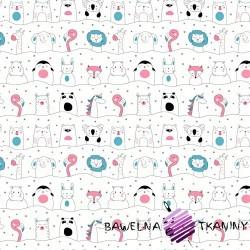 Bawełna zwierzęta różowo niebieskie  w liniach na białym tle