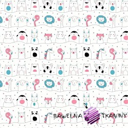 Cotton pink & blue animals on the lines on white background