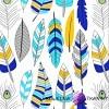 Bawełna piórka niebiesko turkusowo żółte na białym tle