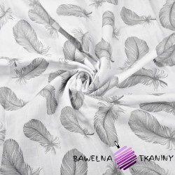 Muslin cloth gray  feathers on white background