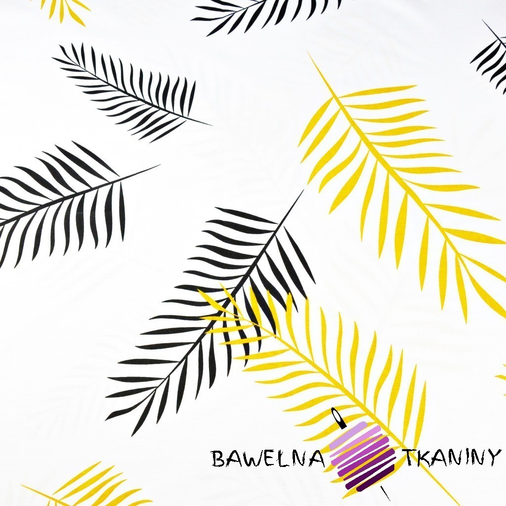 Cotton black & yellow leaves on a white background 220cm