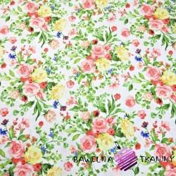 Bawełna kwiaty bukiety kolorowe na białym tle 220cm