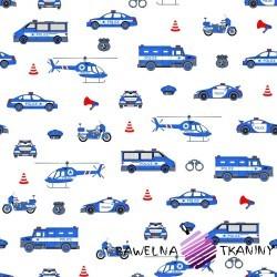 Bawełna Policja niebieska na białym tle