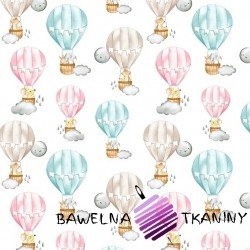 Bawełna zwierzęta w pastelowych balonach na białym tle