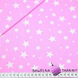 Bawełna gwiazdki nowe małe i duże białe na różowym tle