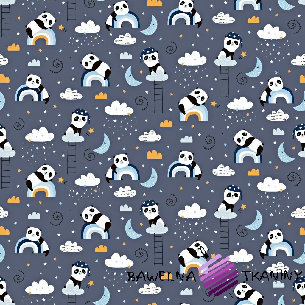 Bawełna pandy z tęczą na ciemno szarym tle
