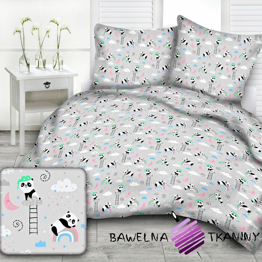 Cotton pandas with rainbow on light gray background