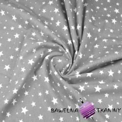 Flanela gwiazdki białe na szarym tle