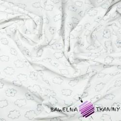 Dzianina Jersey chmurki szare na białym tle