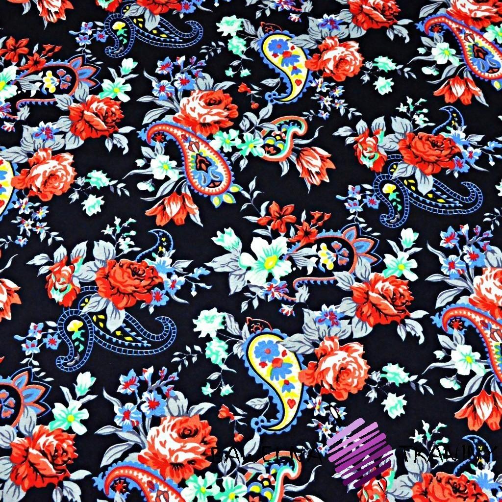 Dzianina Jersey kolorowe kwiaty na granatowym tle