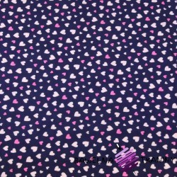 Cotton Jersey - pink hearts on a navy blue background