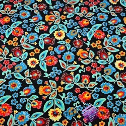 Cotton Jersey - folk pattern on black background