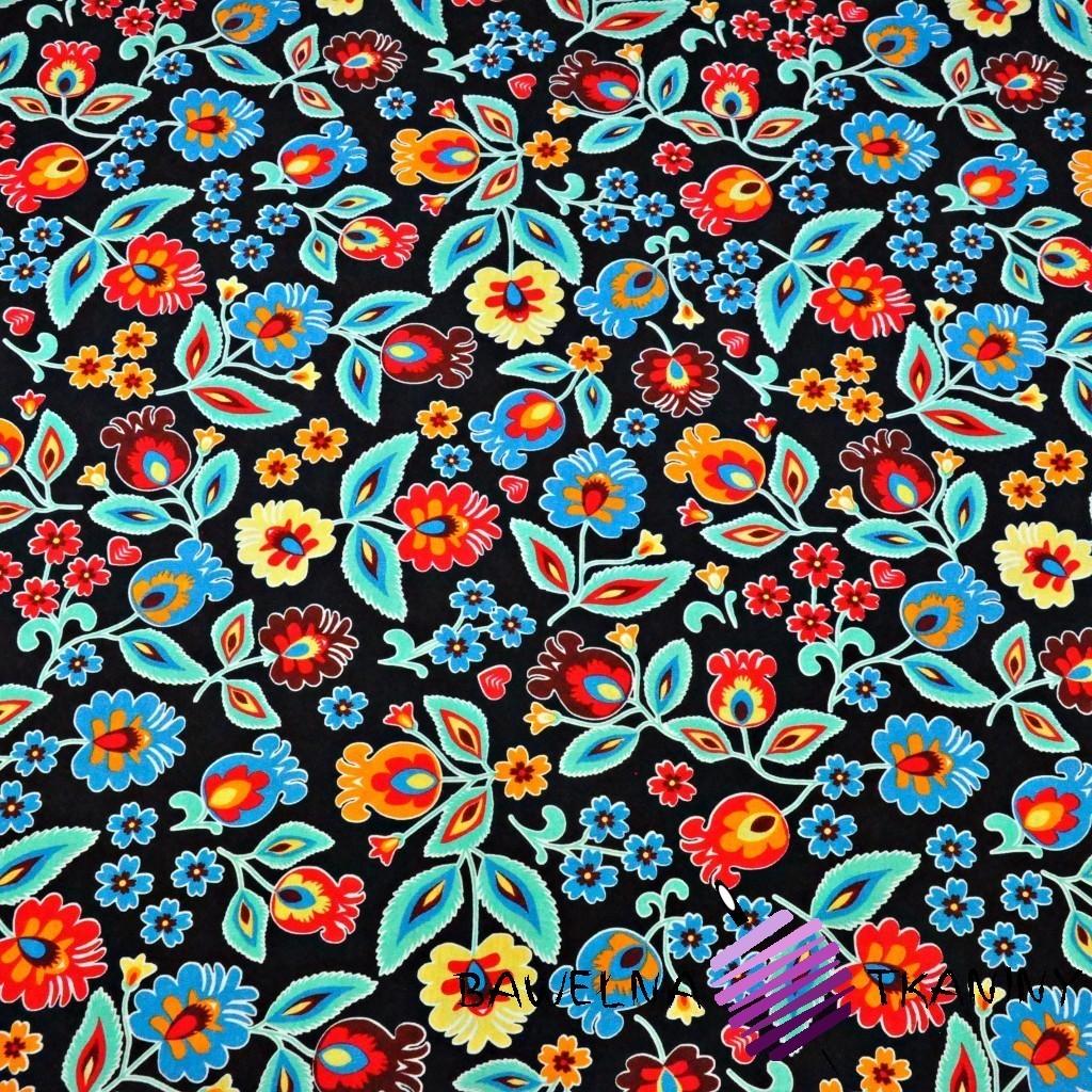Cotton Jersey - folk pattern on black background