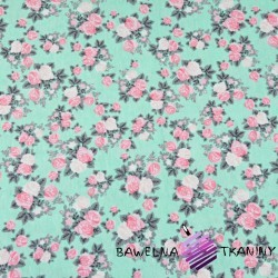 Cotton Jersey - pink roses on mint background