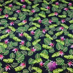 Cotton Jersey - monstera leaves on navy blue background