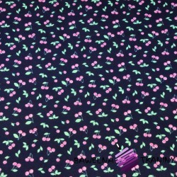 Cotton Jersey - cherries on navy blue background