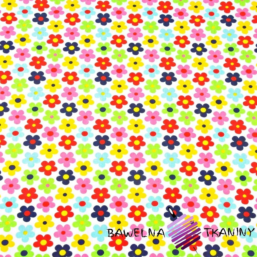 Dzianina Jersey kolorowe kwiatki na białym tle