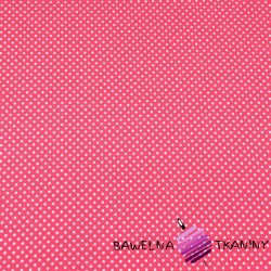 Cotton Jersey - white dots on pink background