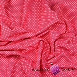 Dzianina Jersey kropki białe na różowym tle