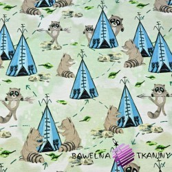 Cotton Jersey digital print - Indian raccoons on a light green background