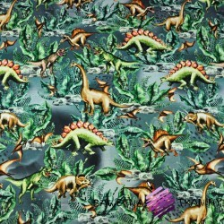 Cotton Jersey digital print -dinosaurs on a gray-green background