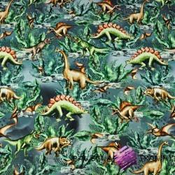 Dzianina Jersey druk cyfrowy dinozaury na szaro zielonym tle