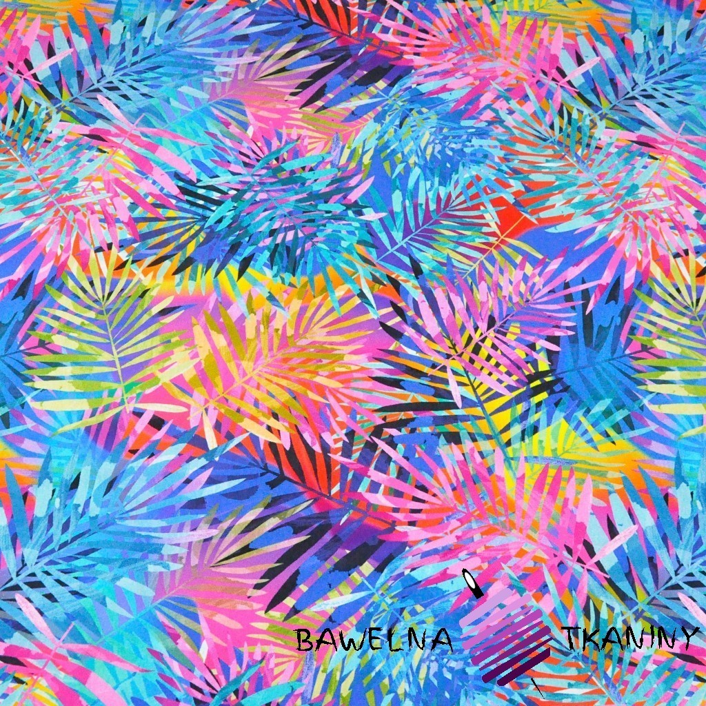 Cotton Jersey digital print -colored leaves