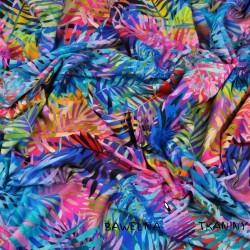 Dzianina Jersey druk cyfrowy liście kolorowe