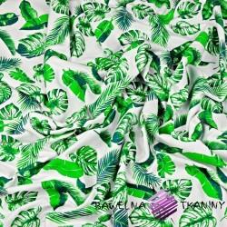 Dzianina Jersey liście zielone na białym tle
